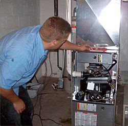 installation of new furnace from technician