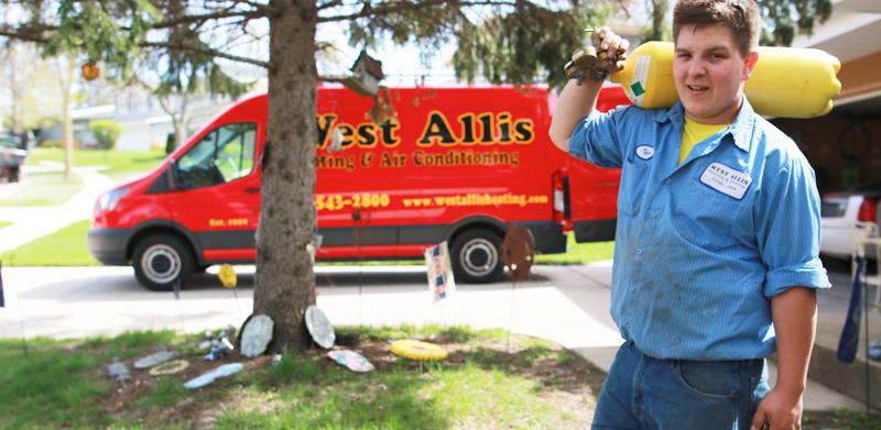 west allis heating employee and truck