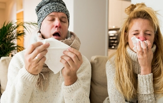 A family sick with the flu